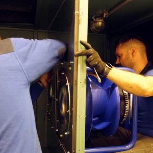 Installatie elektrisch aangedreven luchtbehandelingskast